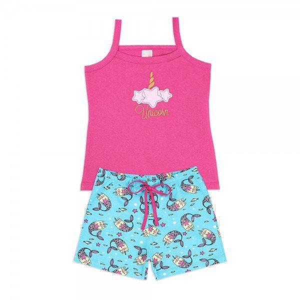 32423a3f7b1fe5 Conjunto Kids 2 Peças Unicórnio Pink e Turquesa - Analê